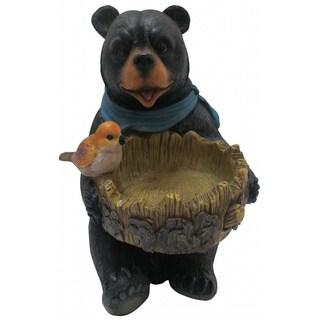 """9"""" Bear Statue with Decorative Birdfeeder"""