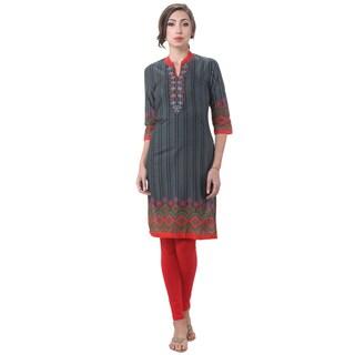 In-Sattva Women's Indian Vertical Stripe Abstract Print Kurta Tunic