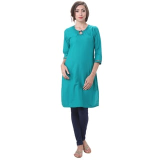 In-Sattva Women's Indian Solid Color Keyhole Embellished Kurta Tunic