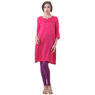 In-Sattva Women's Indian Solid Color Sequin Neck Kurta Tunic