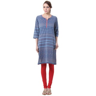 In-Sattva Women's Iindian Pinwheel Printed Kurta Tunic Top