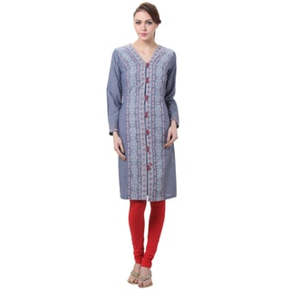 In-Sattva Women's Indian Aztec Print Front Buttons Kurta Tunic