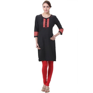 In-Sattva Women's Indian Stitched Stripes Color Contrast Kurta Tunic