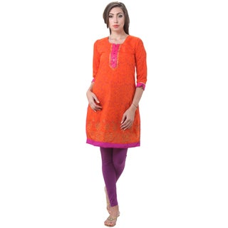 In-Sattva Women's Indian Vine Print Color Contrast Kurta Tunic
