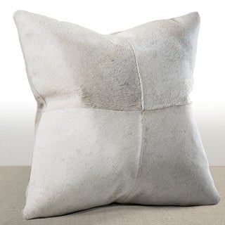 Chauran Del Rey Ivory Cowhide Feather and Down Filled 16-inch Square Pillow