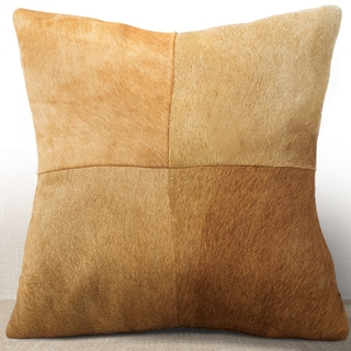 Chauran Del Rey Rust Cowhide Feather and Down Filled 16-inch Square Pillow