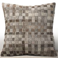 Chauran Adagio Grey Cowhide/ Suede Feather and Down Filled 18-inch Square Pillow