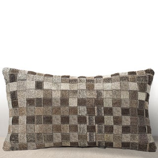 Chauran Adagio Grey Cowhide/ Suede Feather and Down Filled Lumbar Pillow