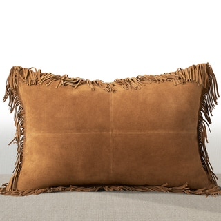 Chauran Coronado Rust Suede Luxury Lumbar Feather and Down Filled Pillow with Fringe Border