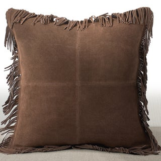 Chauran Coronado Espresso Suede Luxury Feather and Down Filled 20-inch Pillow with Fringe Border