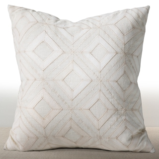 Chauran Cordova Ivory Linen/ Suede Down and Feather Filled 18-inch Throw Pillow