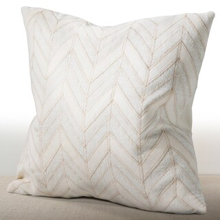 Chauran Cordova Ivory Linen/ Suede Down and Feather Filled 16-inch Throw Pillow