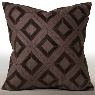 Chauran Cordova Espresso Linen/ Suede Down and Feather Filled 18-inch Pillow