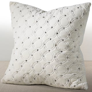 Chauran Meridian Ivory Velvet Down and Feather Filled 18-inch Luxury Pillow with Hand Applied Metal Studs