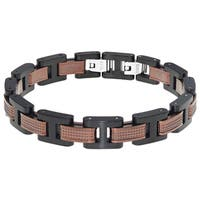 Stainless Steel Men'sTwo-Tone Link Bracelet