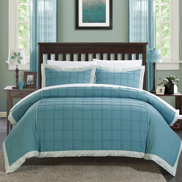 Chic Home Angevin Pintuck Color Block 3-piece Duvet Cover Set