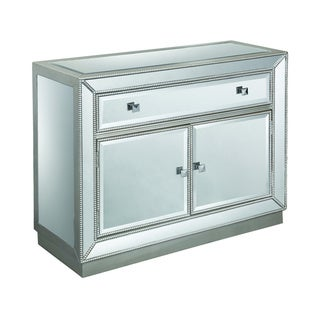 "Somette One Drawer Two Door Cabinet, Estaline Champagne and Mirror - 40""L x 15.5""W x 32""H"