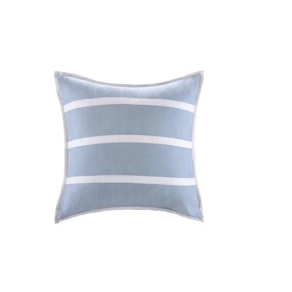 Harbor House Crystal Beach Blue Cotton 26 x 26-inch Euro Sham with Hidden Zipper Closure