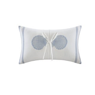 Harbor House Crystal Beach White Cotton 12 x 20 Embroidered Shell Oblong Pillow