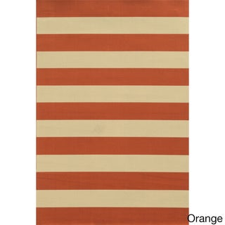 Indoor/ Outdoor Stripe Rug (7'10 x 10'10) in Orange (As Is Item)