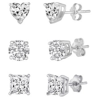 Sterling Silver Multi-shape White Cubic Zirconia 3-pair Stud Earring Set