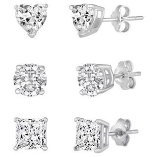 Sterling Silver Multi-shape White Cubic Zirconia 3-pair Stud Earring Set