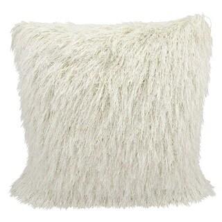 Mina Victory Shag Yarn Shimmer Cream Throw Pillow (20-inch x 20-inch) by Nourison