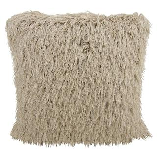Mina Victory Shag Yarn Shimmer Beige Throw Pillow (20-inch x 20-inch) by Nourison
