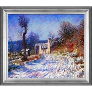 Claude Monet 'Road to Giverny in Winter' Hand Painted Framed Canvas Art