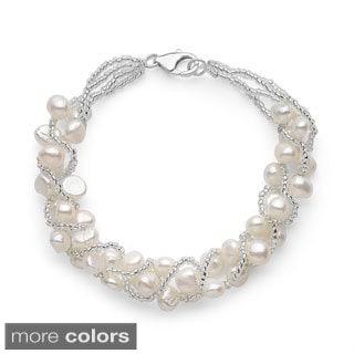 Sterling Silver Freshwater Pearl Woven Bracelet (5-7mm)