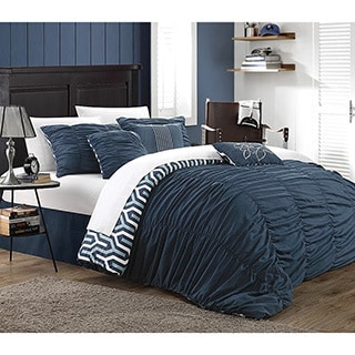 Chic Home Elisha Pleated Ruffled Reversible Creased 7-piece Duvet Cover Set with White Sheet Set