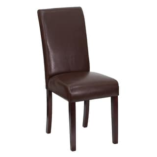 Royale Brown Leather Upholstered Parson Chairs