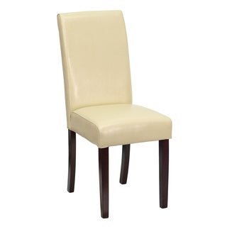 Royale Ivory Leather Upholstered Parson Chairs
