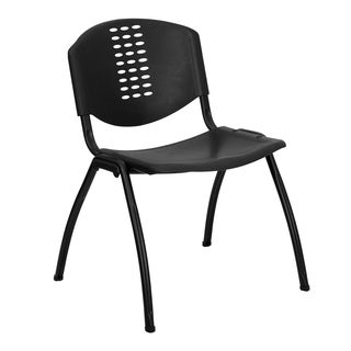 Pansy Black Contoured Modern Design Stack Chairs
