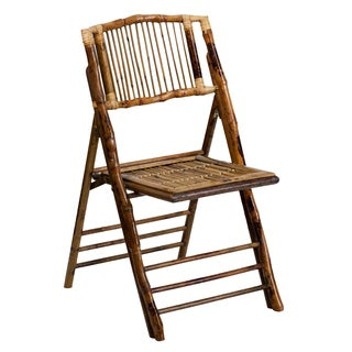 "Empire Deco-Style Bamboo Folding Chairs - 34.5""h x 18.75""w x 24""d"