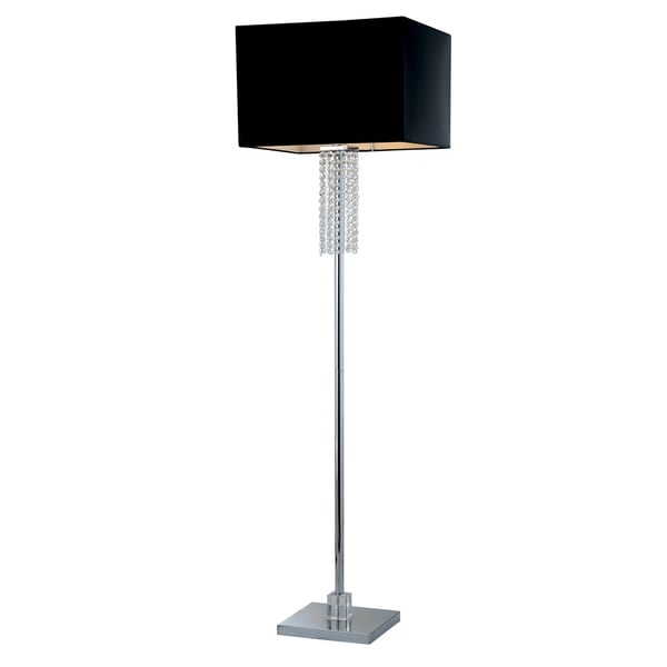 Artiva USA Adelyn 63-inch Square Modern Chrome and Black Crystal Floor Lamp