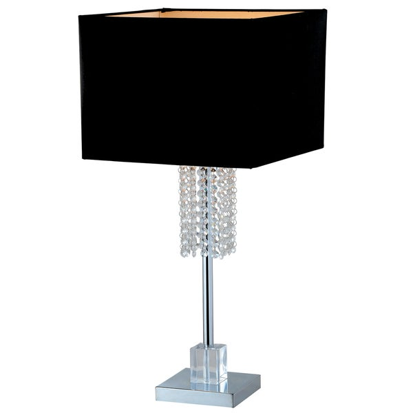 Artiva usa adelyn 27 inch square modern chrome and black crystal table lamp