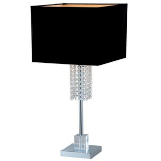 Artiva USA Adelyn 27-inch Square Modern Chrome and Black Crystal Table Lamp