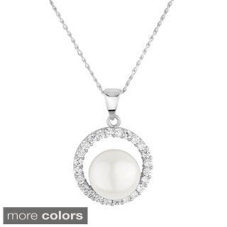 Sterling Silver White Freshwater Pearl and Cubic Zirconia Necklace (8-9mm)