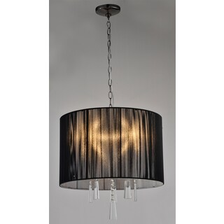 Artiva USA Elina 5-light Black Chrome Crystal Chandelier with Black Threaded Silk Shade
