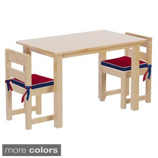 Maxtrix Kids Teatime 21 Play Table with Two Small Chairs with Reversible Blue/ Red Seat Pads