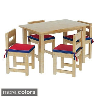 Maxtrix Kids Playtime 21 Play Table with Four Chairs with Reversible Blue/ Red Seat Pads