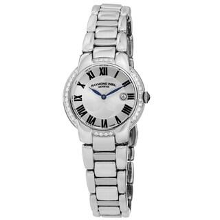 Raymond Weil Women's 5229-STS-01659 'Jasmine' Silver Dial Stainless Steel Diamond Swiss Quartz Watch https://ak1.ostkcdn.com/images/products/10343586/P17452859.jpg?_ostk_perf_=percv&impolicy=medium