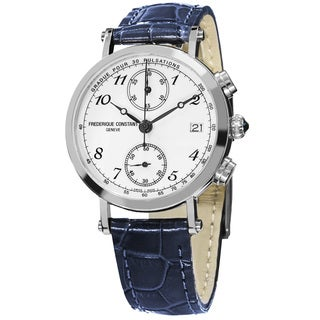 Frederique Constant Women's FC-291A2R6 'Classics' White Dial Blue Leather Strap Swiss Quartz Watch