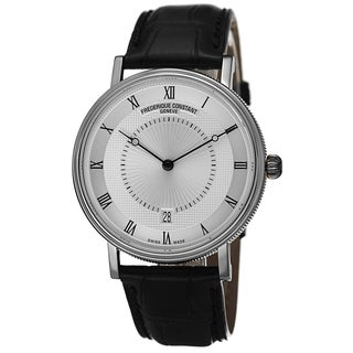 Frederique Constant Men's FC-306MC4S36 'Slim Line' Silver Dial Black Leather Strap Watch