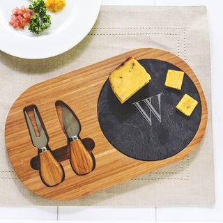 Personalized Bamboo and Slate Cheese Board Set with Utensils
