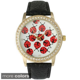 Olivia Pratt Women's Leather Strap Ladybug Watch