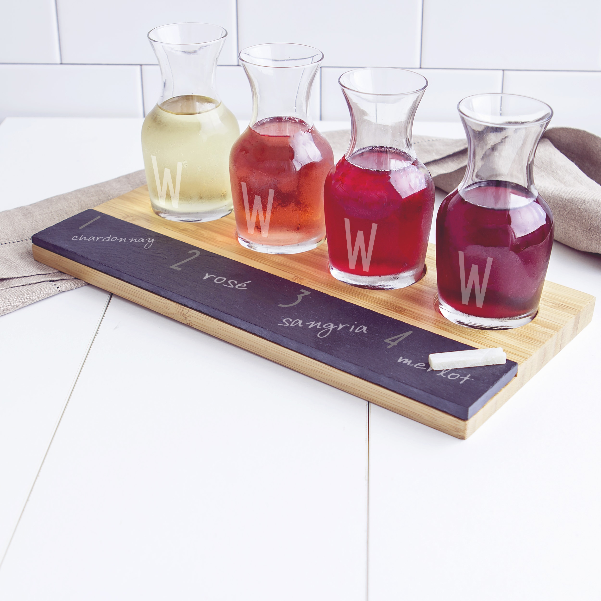 Cathy's Concepts Personalized Bamboo and Slate Wine Tasti...