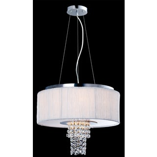 Artiva USA Adrienne 6-Light Stainless Steel , Chrome Crystal Chandelier with Plisse Fabric Shade