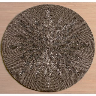 """15"""" Glass Beaded Placemat by KINDWER - 15 inch/15 in. (Option: Grey / Copper Sunburst)"""